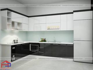 Công trình tủ bếp acrylic và nội thất gỗ An Cường nhà anh Thủy – Hải Phòng Nội thất Hpro KitchenCabinets & shelves Multicolored