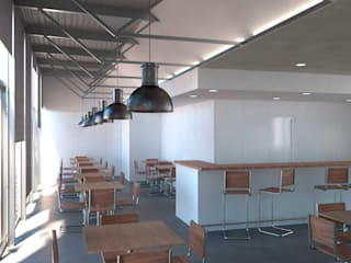 Un bar con consumo energético casi nulo, bajo estándar Passivhaus: Bares y Clubs de estilo  de Divers Arquitectura, especialistas en Passivhaus en Sabadell