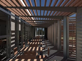 Un bar con consumo energético casi nulo, bajo estándar Passivhaus Bares y clubs de estilo moderno de Divers Arquitectura, especialistas en Passivhaus en Sabadell Moderno
