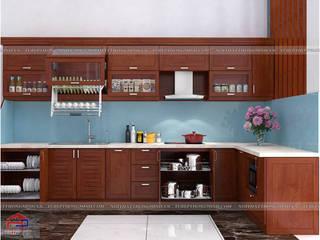 Công trình tủ bếp gỗ xoan đào và nội thất gỗ veneer xoan đào nhà anh Lý – Tp Vinh: hiện đại  by Nội thất Hpro, Hiện đại