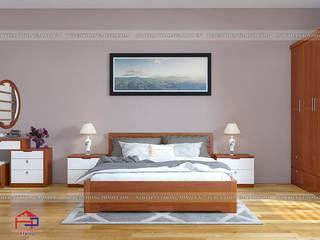 Công trình tủ bếp gỗ xoan đào và nội thất gỗ veneer xoan đào nhà anh Lý – Tp Vinh Nội thất Hpro BedroomBeds & headboards Wood effect