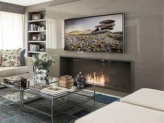 Apartamento decorado: Salas de estar  por Anne Báril Arquitetura