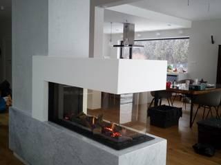 kominek gazowy z bocznymi szybami: styl , w kategorii  zaprojektowany przez Kominki GP sp. z o.o.