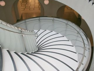 Coloured spiral glass staircase:  Museums by Ion Glass
