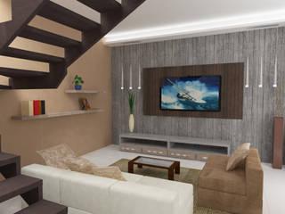 Diseño Sala de departamento: Salas de estilo  por MATE Arquitectura