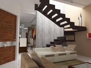 Escalera con acabado en madera: Escaleras de estilo  por MATE Arquitectura