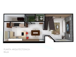 Planta Arquitectónica : Salas de estilo  por MATE Arquitectura