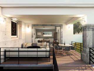Casa TXS. Balcones y terrazas modernos de Estudio AF Moderno