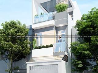 Mẫu nhà ống đẹp 3 tầng 4m bởi Công ty cổ phần tư vấn kiến trúc xây dựng Nam Long Hiện đại