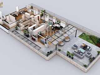 Modern Penthouse 3D Home Floor Plan Design by Yantram Architectural Design Studio, Dublin – Ireland:  Floors by Yantram Architectural Design Studio