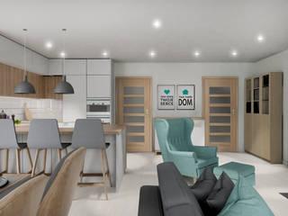 Kuchnia w dużym salonie: styl , w kategorii Kuchnia zaprojektowany przez Projektowanie Wnętrz Online
