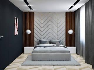 Sypialnia Dla Młodej Pary - Katowice Pracownia Projektowa HybriDesign Adelina Czerbak Nowoczesna sypialnia