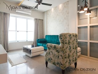 2BHK @ Goregoan (East), Romell Group:  Living room by Midas Dezign,Modern