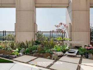 大塊的石磚步道也帶有日式風味:  地板 by 大地工房景觀公司
