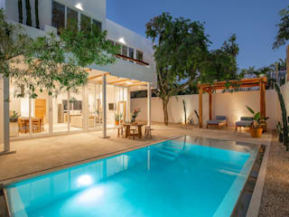 Hipercubo Arquitectura Jardines en la fachada Concreto Blanco