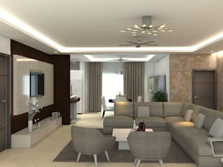 Living room for a couple Acorp Consultants Pvt Ltd Living room Tiles Beige