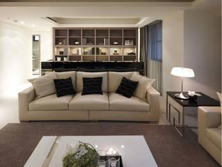 簡潔俐落的現代風格實品屋 鼎爵室內裝修設計工程有限公司 现代客厅設計點子、靈感 & 圖片