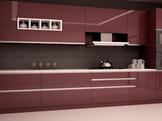Straight Kitchen Design:   by DLIFE Home Interiors,