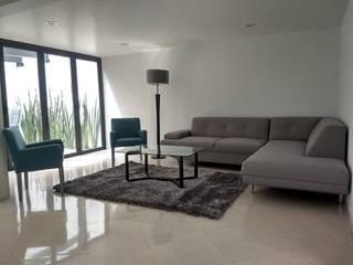 CASA GARZA RIOS SATELITE Salones modernos de IINGENIO CONSTRUCTORES Moderno