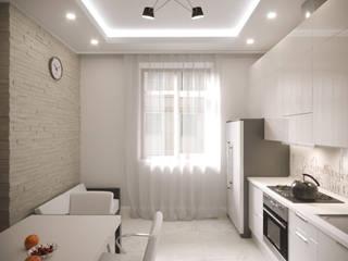 Дизайн-проект квартиры 85.4м2 (кухня): Кухни в . Автор – ТОО 'ПРОФИТ',