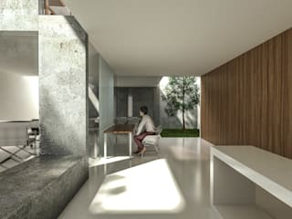 HEXSAL ARQUITECTOS Modern Study Room and Home Office Concrete Wood effect