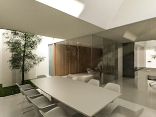 HEXSAL ARQUITECTOS Modern Study Room and Home Office Glass White