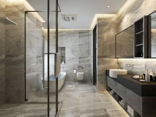 浴室使用石材牆面打造:  浴室 by 台中室內設計-築采設計