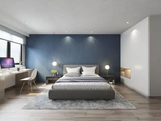 藍色的床頭牆讓整個空間帶有沉穩的氣質:  臥室 by 台中室內設計-築采設計