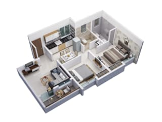 2 BHK:  Floors by Space Alchemists