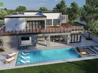 3D Exterior Architectural Walkthrough Home Design with Pool Side Evening view by Architectural and Design Services, Cape Town - South Africa Yantram Architectural Design Studio Modern