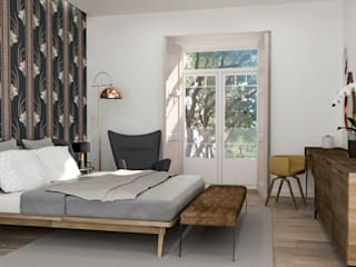 aponto Modern style bedroom Wood White
