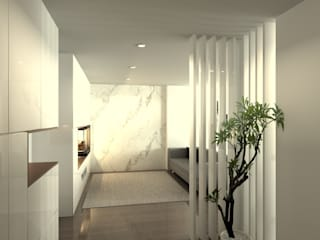 Modern Corridor, Hallway and Staircase by QOTDA Design Modern