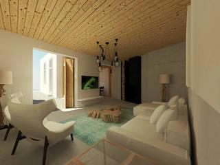 Recuperação de Casa da Aldeia Salas de estar modernas por Imagem Publica, Design & Comunicação Moderno