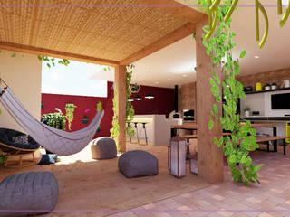 Casa Santa Isabel I Varandas, alpendres e terraços modernos por MD&D Arquitetura e Interiores Moderno