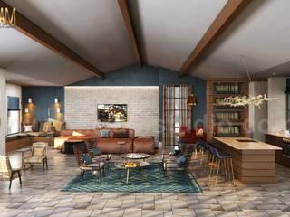Modern Elegance Clubhouse rendering 3D Interior Modeling Ideas by Yantram Architectural Studio, Amsterdam – Netherlands Modern Evler Yantram Architectural Design Studio Modern