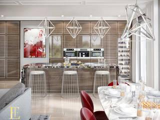 Kuchnia z jadalnią i salonem: styl , w kategorii Aneks kuchenny zaprojektowany przez Elegance of Tailors