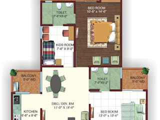 Turnkey Interior Design of 2 BHK Apartment at Noida by Outcrop Professional Services