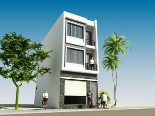 Thiết kế nhà phố 3 tầng mặt tiền 5m tại Long Biên bởi CÔNG TY CỔ PHẦN XD&TM KIẾN TẠO VIỆT Hiện đại