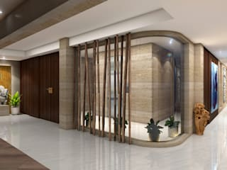 LUXURY PENTHOUSE AT NEAPEANSEA ROAD - MUMBAI Modern corridor, hallway & stairs by NUOVO IDEAS Modern