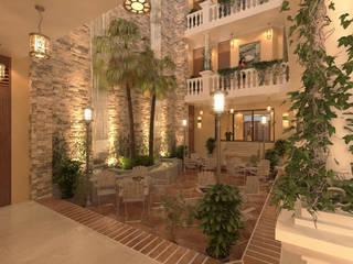 PATIO CENTRAL NOCHE: Estanques de jardín de estilo  por M3DRANO