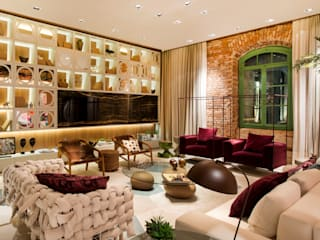Living room by ANNA MAYA ARQUITETURA E ARTE, Eclectic