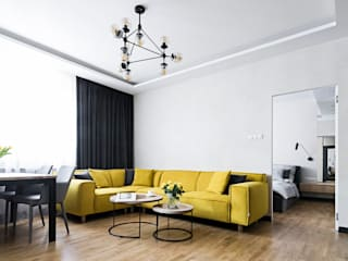 MMA Pracownia Architektury Modern living room Wood Yellow