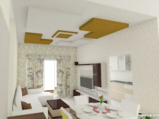 three bhk apartment in bangalore:  Living room by SSDecor