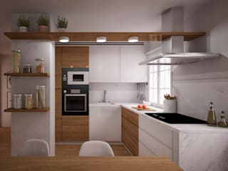 nowheresoon. estudio creativo en madrid Cucina attrezzata Marmo Effetto legno