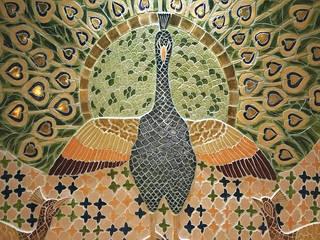Detail zelfgevormde tegels - sauna - rasul - mosaic:  Gezondheidscentra door Atelier De Mozaiekkamer