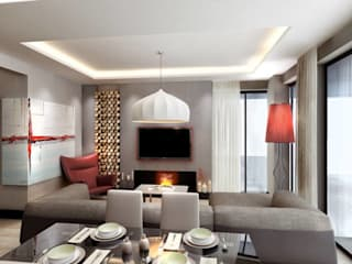ANTE MİMARLIK Salones de estilo moderno Rojo