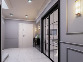 ANTE MİMARLIK Modern Corridor, Hallway and Staircase Grey