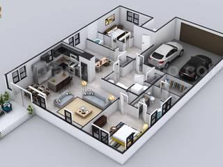 Floor Plan Designer for Contemporary Residential House with Garage Slot by Architectural Visualisation Studio, Doha - Qatar Modern Evler Yantram Architectural Design Studio Modern