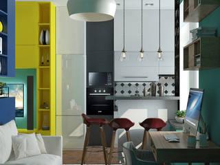 Функциональный интерьер в квартире с небольшой площадью: Гостиная в . Автор – Yurov Interiors,