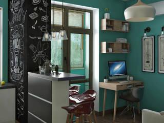 Функциональный интерьер в квартире с небольшой площадью: Рабочие кабинеты в . Автор – Yurov Interiors,